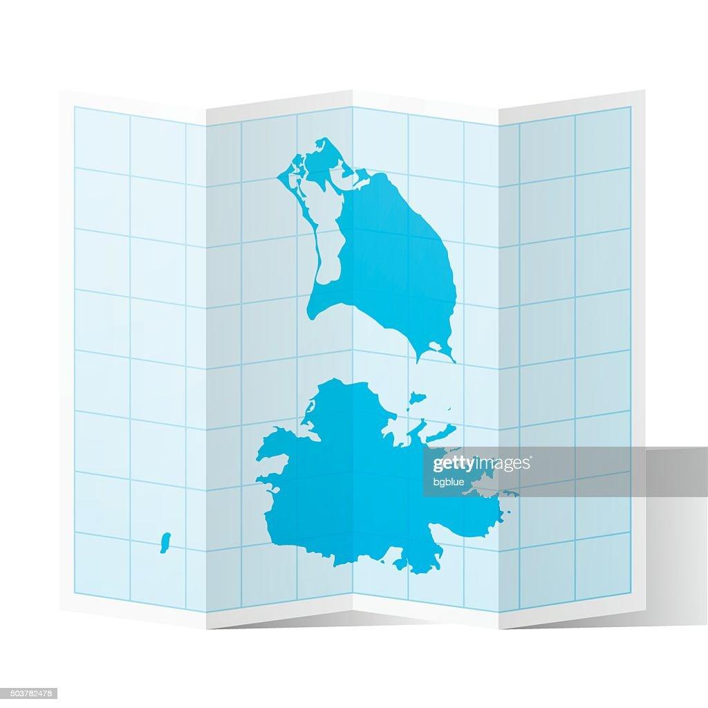 Antigua And Barbuda Map Folded Isolated On White Background ...