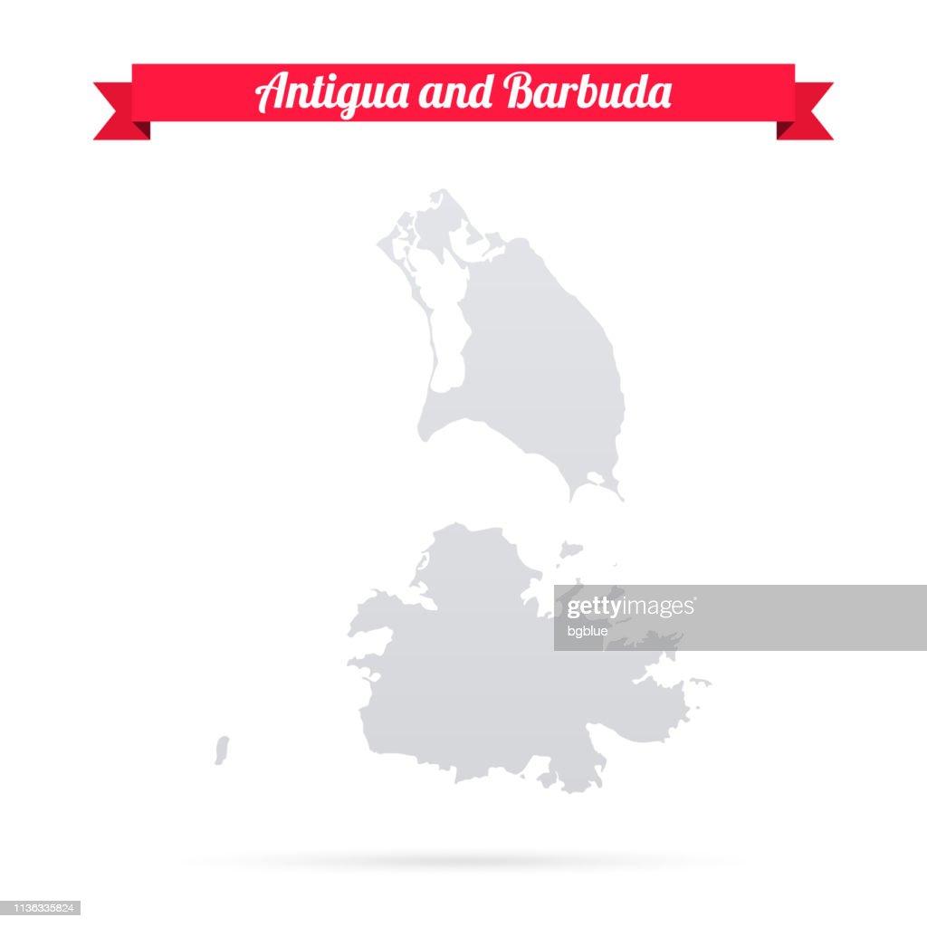 Antigua Und Barbuda Karte Auf Weißem Hintergrund Mit Rotem ...