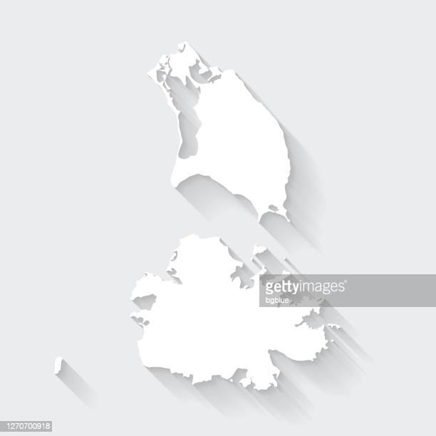 antigua and barbuda map with long shadow on blank background - flat design - antigua & barbuda stock illustrations