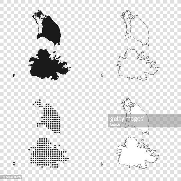 antigua and barbuda maps for design - black, outline, mosaic and white - antigua & barbuda stock illustrations