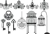 Antique and Vintage Outlines Vector Set