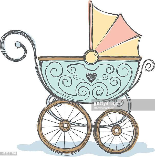 Antique baby stroller