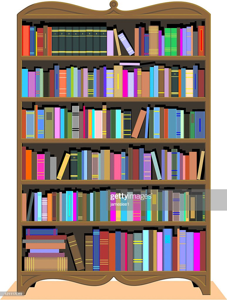 Antique Bookshelf Vector Art