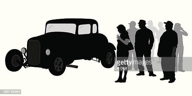 Antique Cars Vector Silhouette