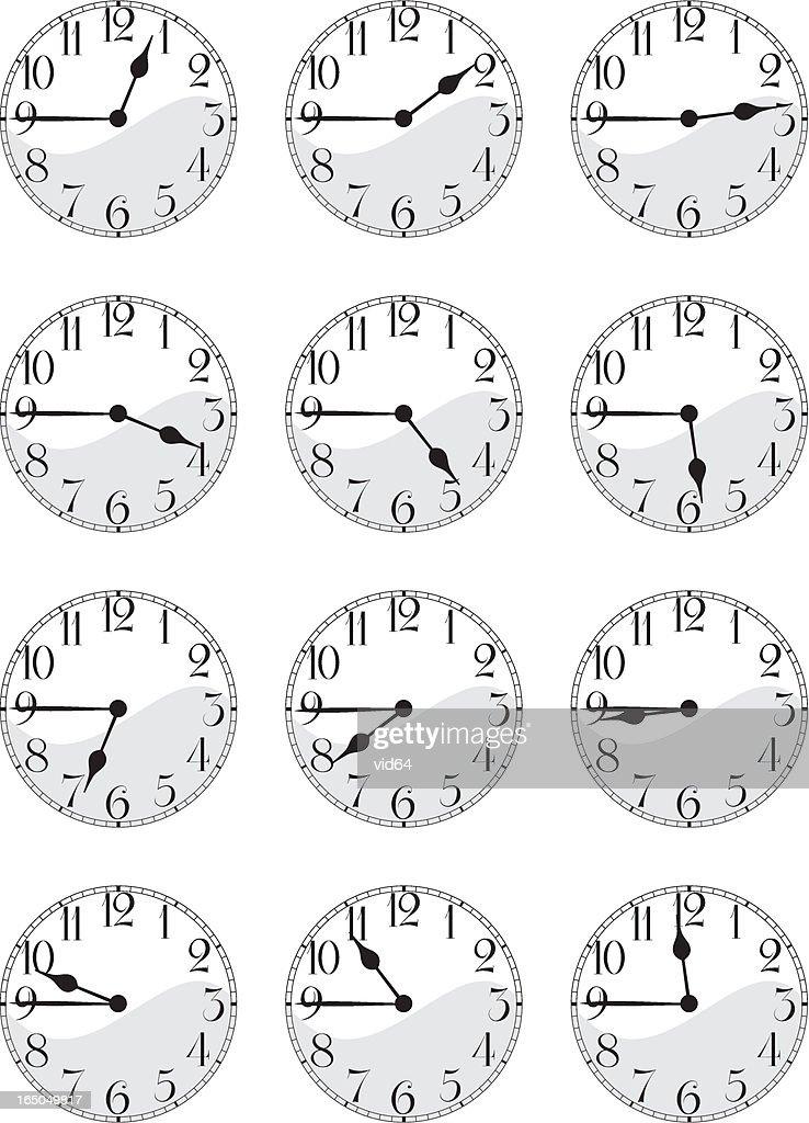 Antique Clock Face Set Quarterto stock illustration - Getty Images