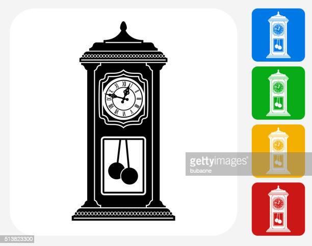 Antique Clock Icon Flat Graphic Design