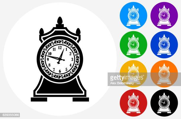 Antique Clock Icon on Flat Color Circle Buttons