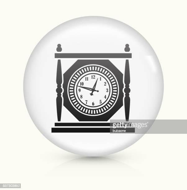 Antique Clock icon on white round vector button