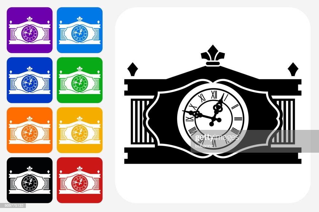 Antike Uhr Symbol Square Buttonset : Stock-Illustration