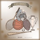 Antique color sport gear hand drawn sketch on old paper background.