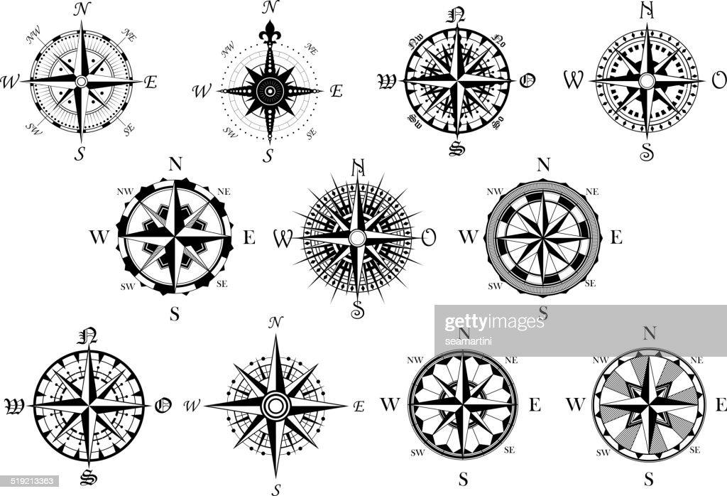 Antique compasses symbols set