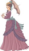 Antique dressed lady with umbrella. Victorian style fashion vect