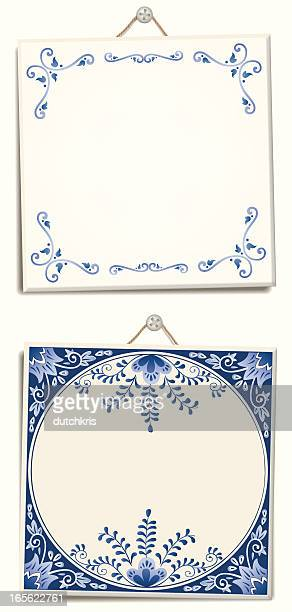 antique dutch delft blue text tiles - ceramics stock illustrations, clip art, cartoons, & icons