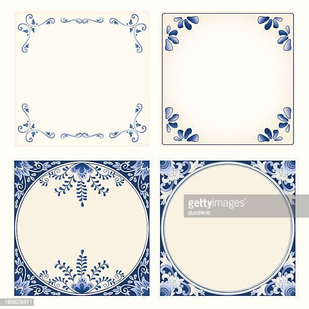 Antique Dutch Delft Blue tiles