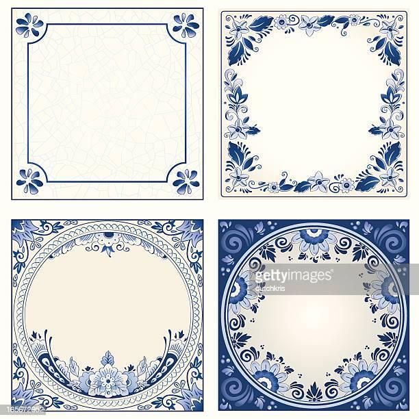 antique dutch delft blue tiles - pottery stock illustrations, clip art, cartoons, & icons
