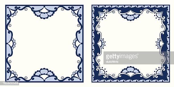 stockillustraties, clipart, cartoons en iconen met antique dutch delft blue tiles - nederlandse cultuur