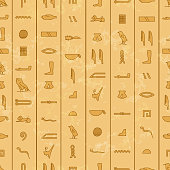 Antique egyptian hieroglyphics, seamless pattern