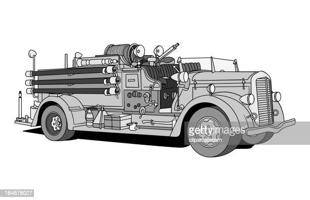 antique fire engine - fire engine stock illustrations, clip art, cartoons, & icons