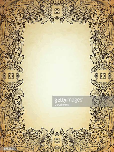 antique frame on parchment hand engraved scrollwork - run down stock illustrations, clip art, cartoons, & icons