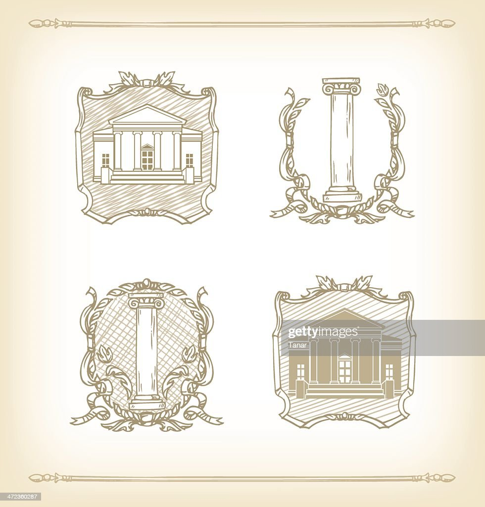 Antique frames with house and columns