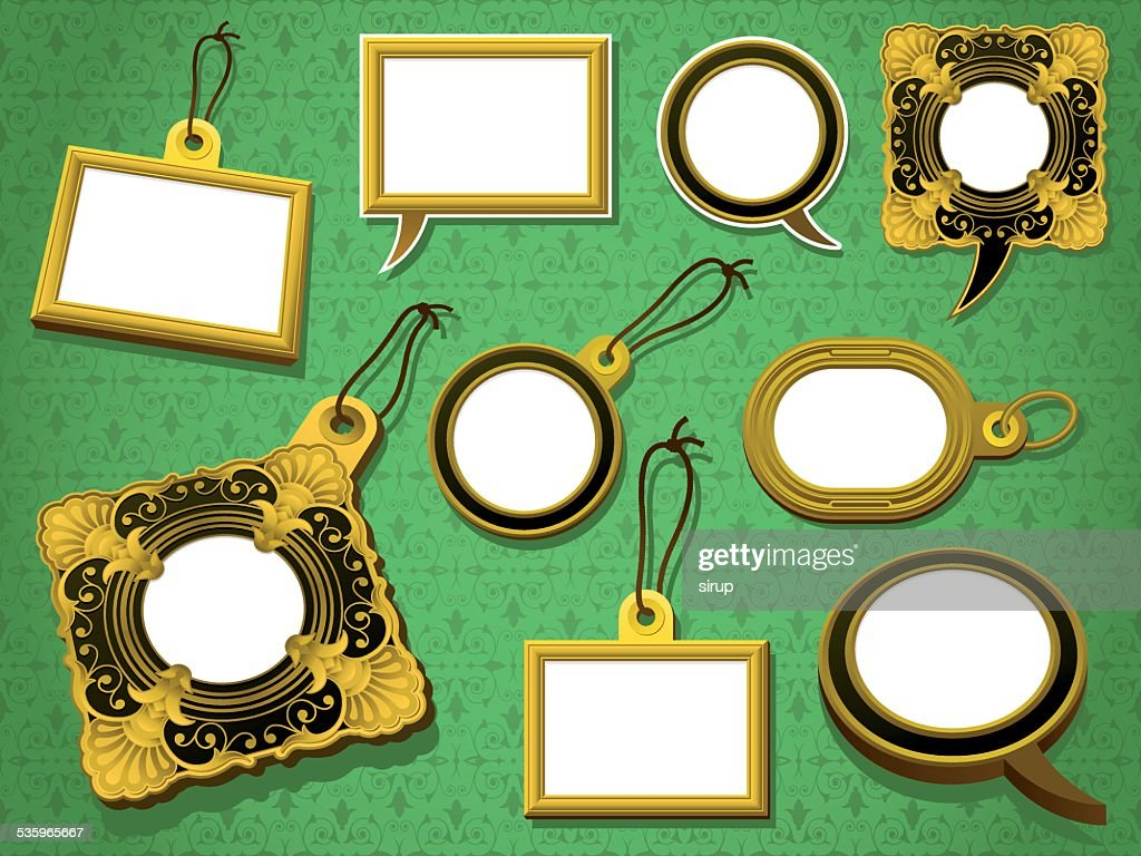 antique gold frames set tag and speech bubbles : Vector Art