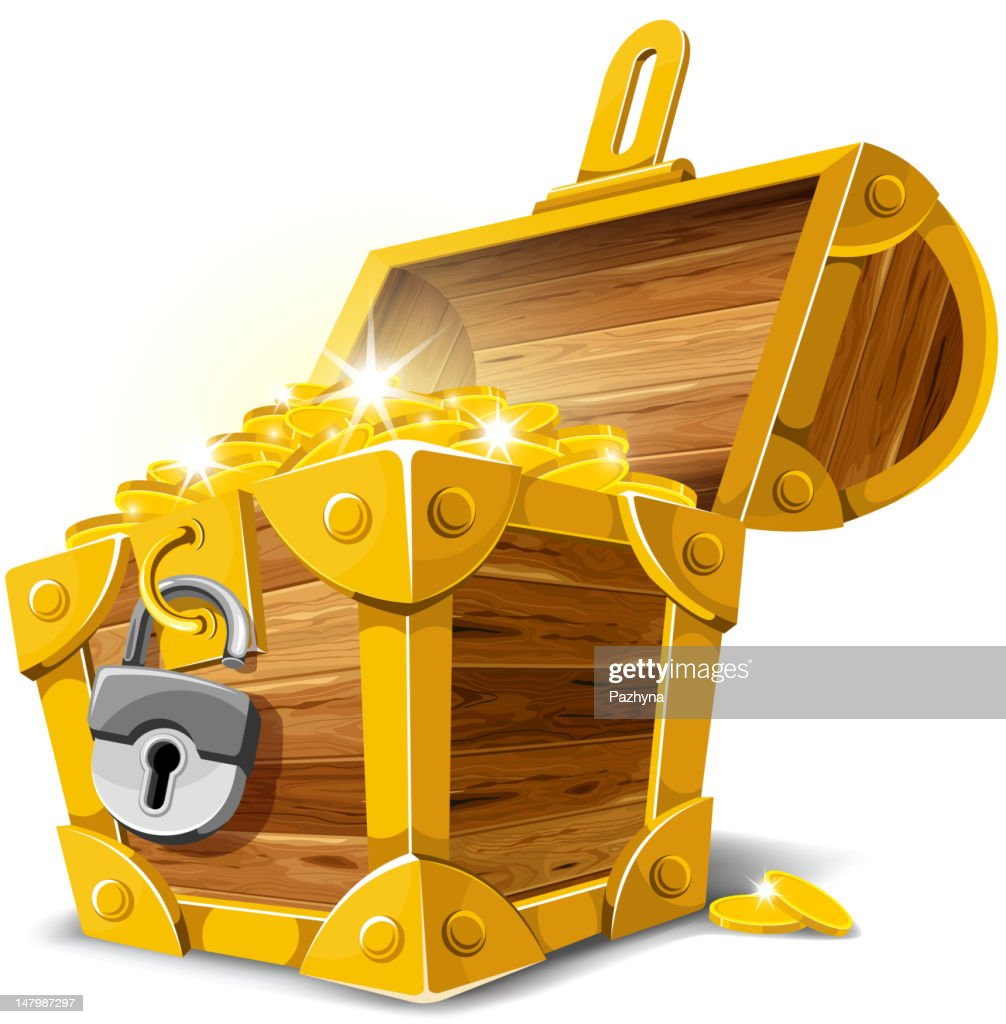 Antique gold treasure chest vector illustration