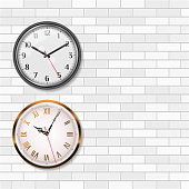 Antique Gold Wall Clock and Round Quartz Analog Wall Clock on White Brick Wall. Empty Space for Your Text. Vector Art.