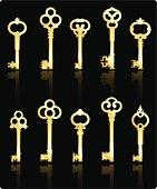 antique golden keys collection