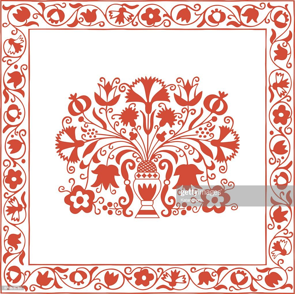 Antique Hungarian embroidery pattern with carnations and pomegranate