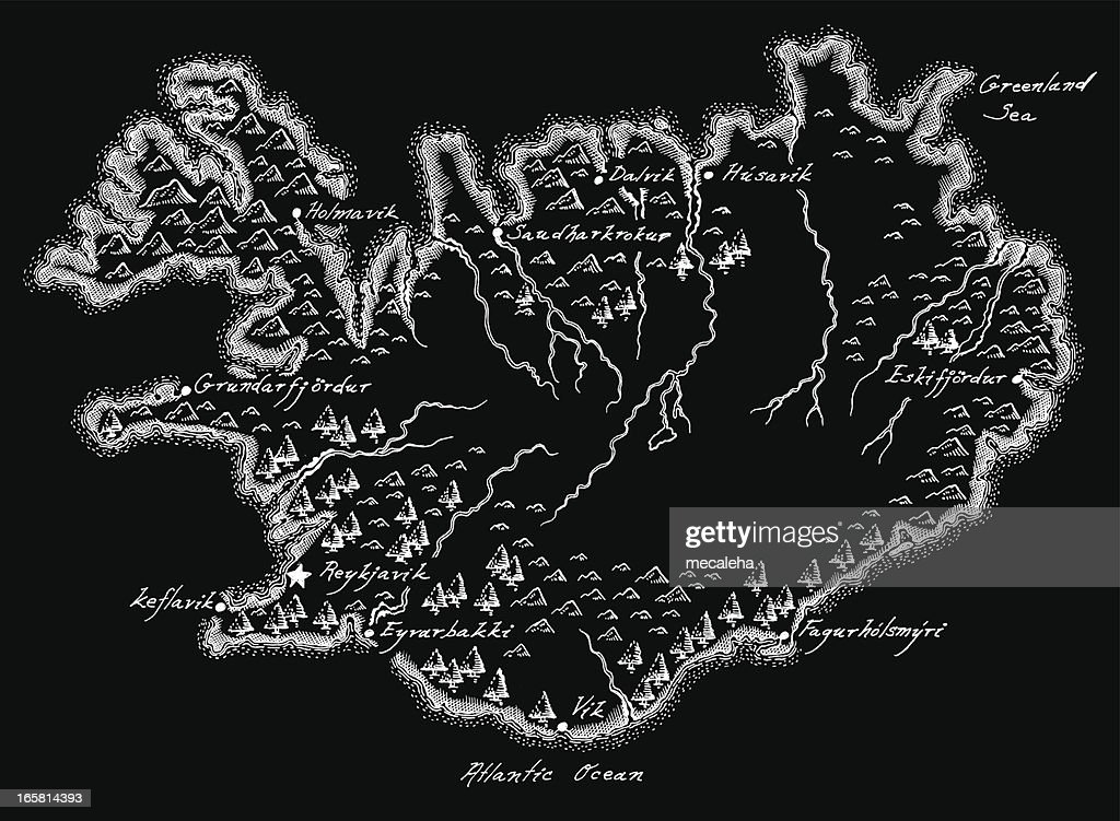 Antique Iceland Map Vector Art | Getty Images