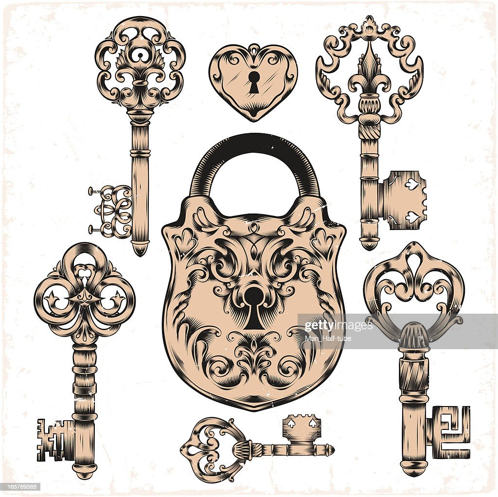 antique keys and lock
