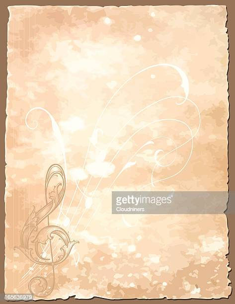 antique musical notation - background wallpaper - treble clef stock illustrations, clip art, cartoons, & icons