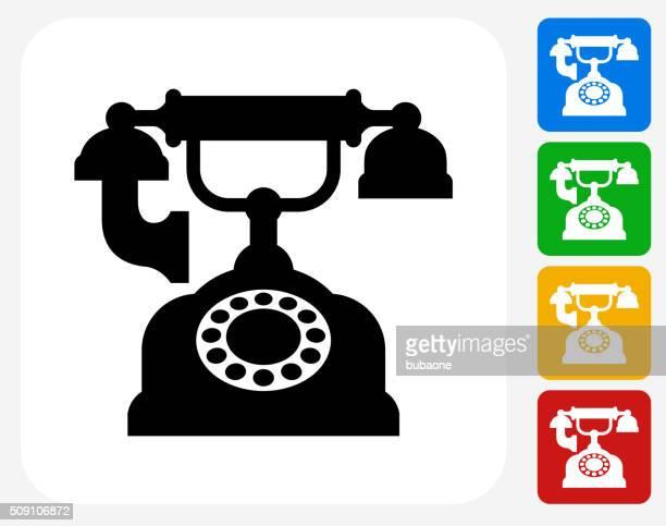 Antique Phone Icon Flat Graphic Design
