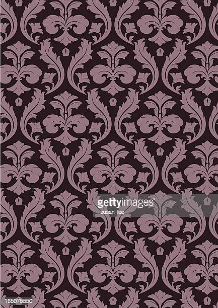 antique rococo seamless pattern - brocade stock illustrations