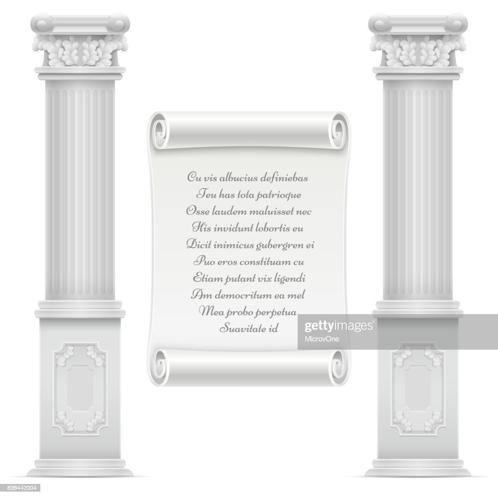 Antique roman architecture design with marble stone colomns and text on wall