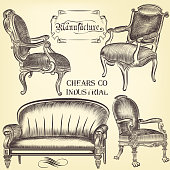 Antique set of vector hand drawn chairs  in vintage style
