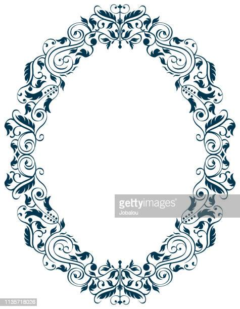 antique style oval frame - filigree stock illustrations