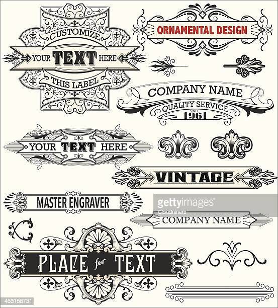 antique text labels and banners - art nouveau stock illustrations, clip art, cartoons, & icons