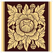 Antique THAI Flower Art, Vector, Thailand