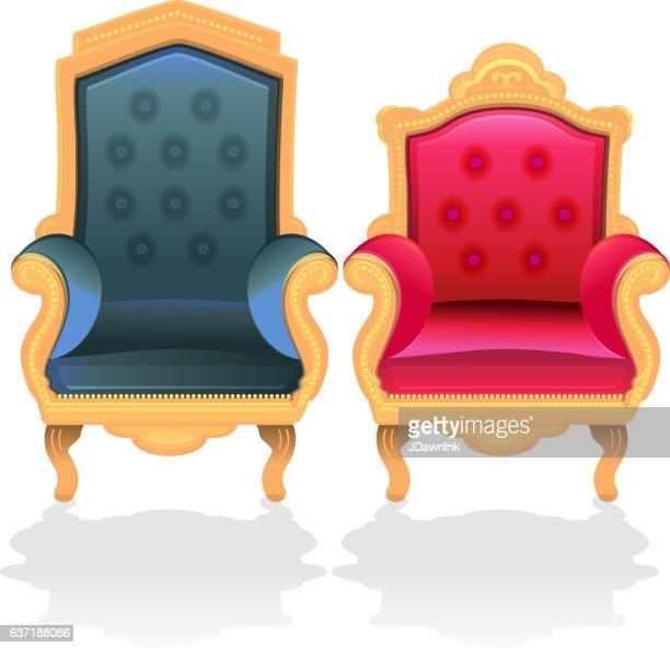 antique throne chairs for king and queen - throne stock illustrations