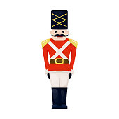 Antique toy vintage tin soldier childhood old cute military traditional character christmas holiday british gift vector illustration.