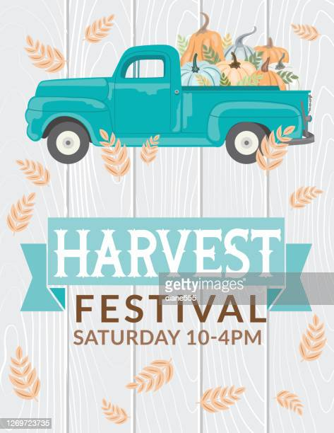 antique truck with pumpkins and harvest festival sign - harvesting stock illustrations
