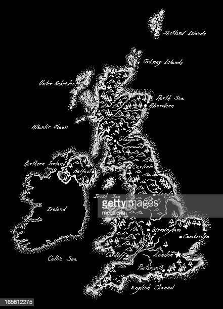 ilustraciones, imágenes clip art, dibujos animados e iconos de stock de antiguo mapa de reino unido - geografía física