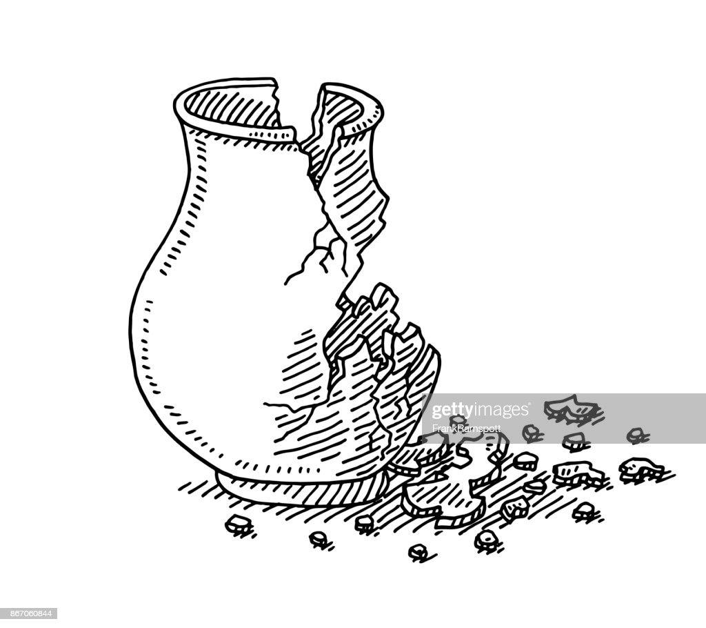 Antike Vase In Stücke gebrochen Zeichnung : Stock-Illustration
