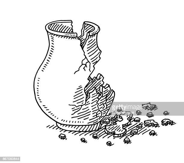 Antike Vase In Stücke gebrochen Zeichnung