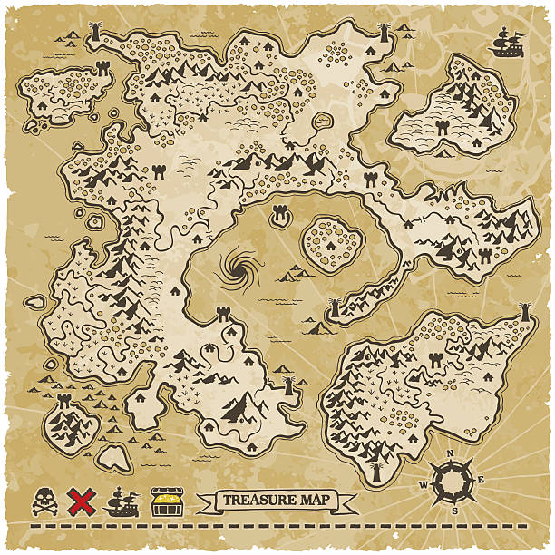 antique vector treasure map - fantasy stock illustrations