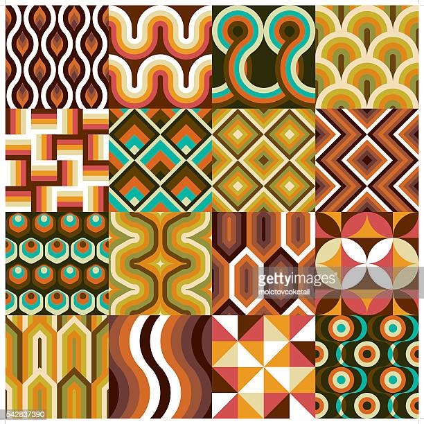 antique wallpaper set - retro style stock illustrations