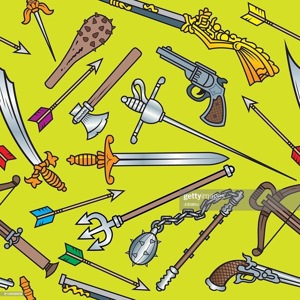 Antique Weapons Seamless Pattern