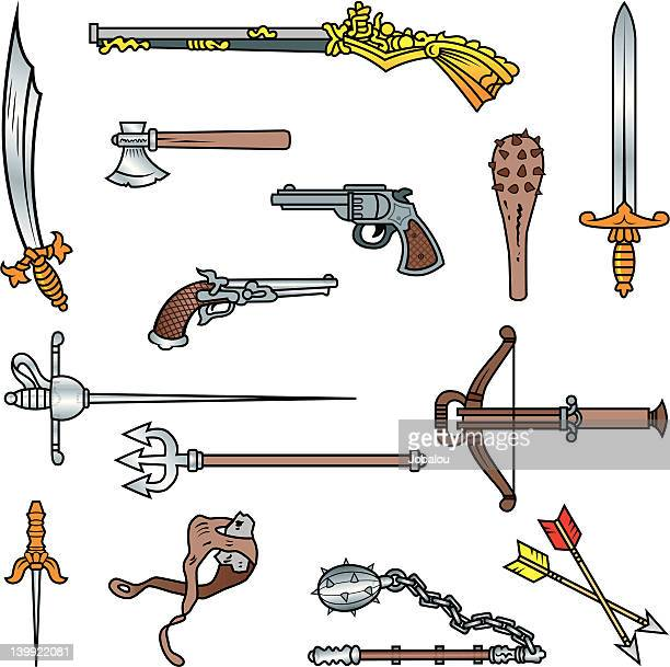 antique weapons - javelin stock illustrations