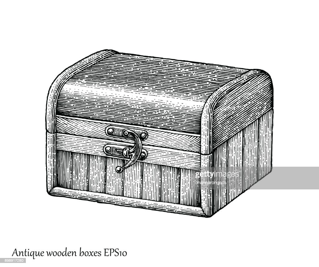 Antique wooden boxes hand drawing engraving style